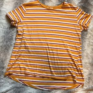 Zara mustard stripe basic tee medium